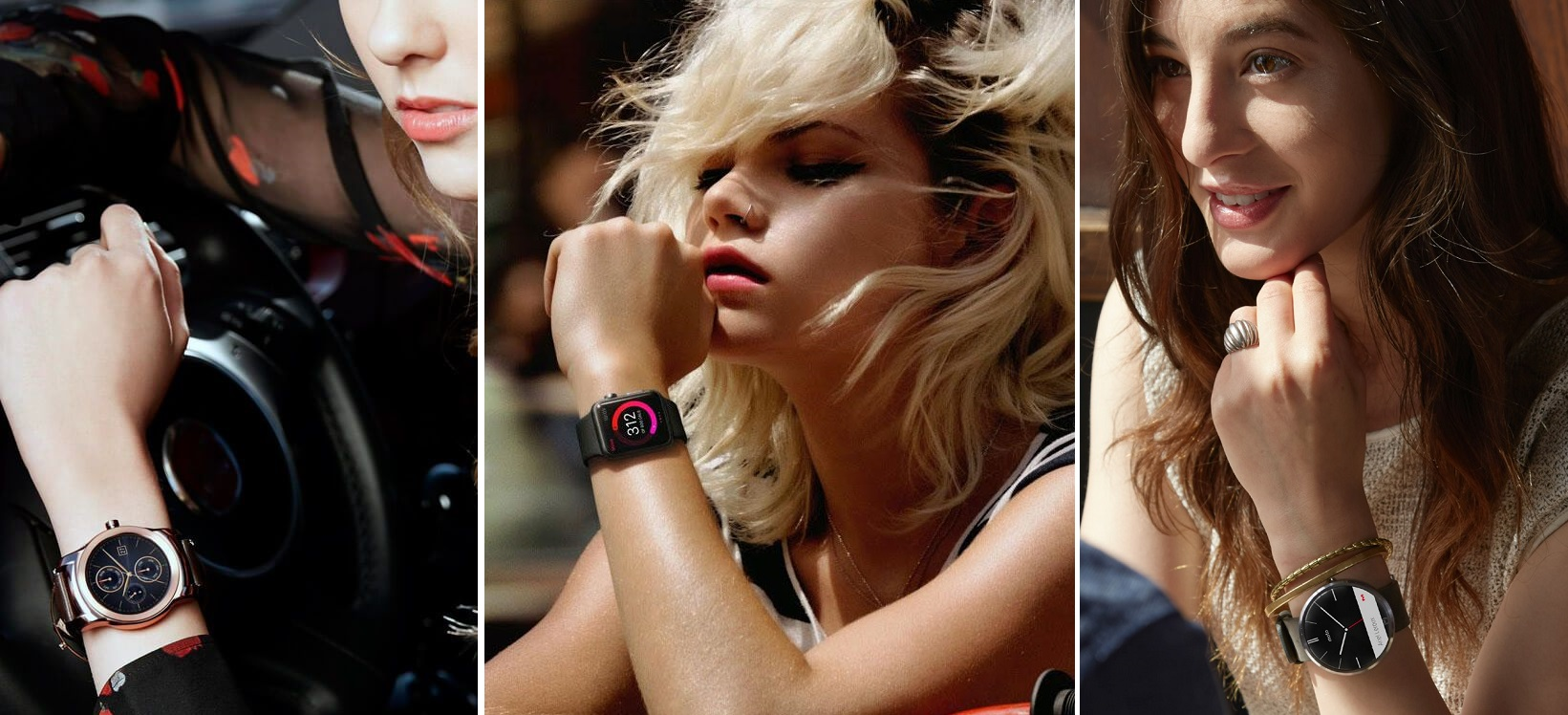 Smartwatch na kobiecej ręce. Od lewej: okrągły LG Watch Urbane, kwadratowy Apple Watch i okrągły Moto 360.