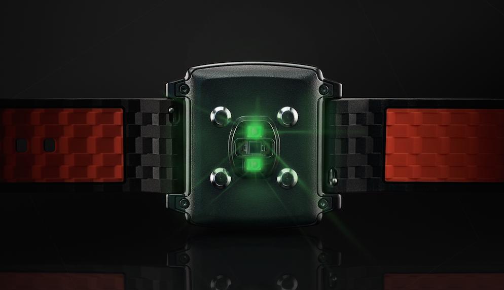 Czujniki optyczne mają zwykle zielone diody LED. Tutaj w modelu Basis Peak.
