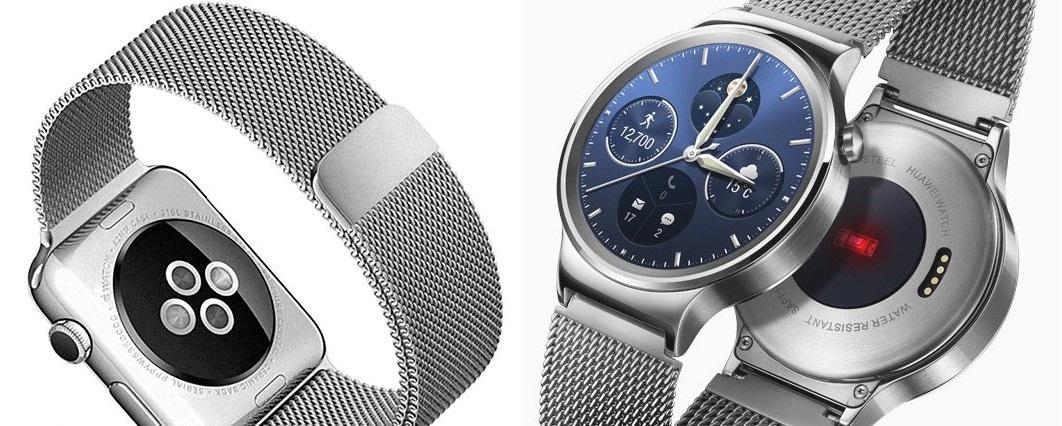 Prawie każdy smartwatch ma już dziś jakiś czujnik tętna. Po lewej Apple Watch,. Po prawej Huawei Watch.