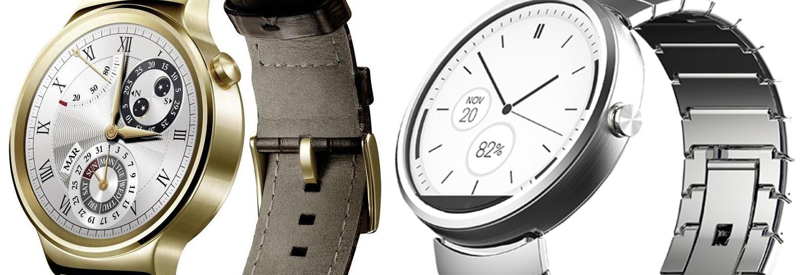 Po lewej okrągły Huawei Watch, po prawej ścięta Moto 360 (2014). Model na 2015 ma ten sam ekranik.