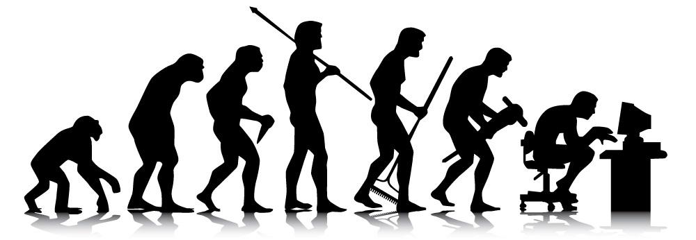 Dorzucam śmieszne zobrazowanie naszej ewolucji. foto z uprightpose.com (o ich gadżecie też pisałem).