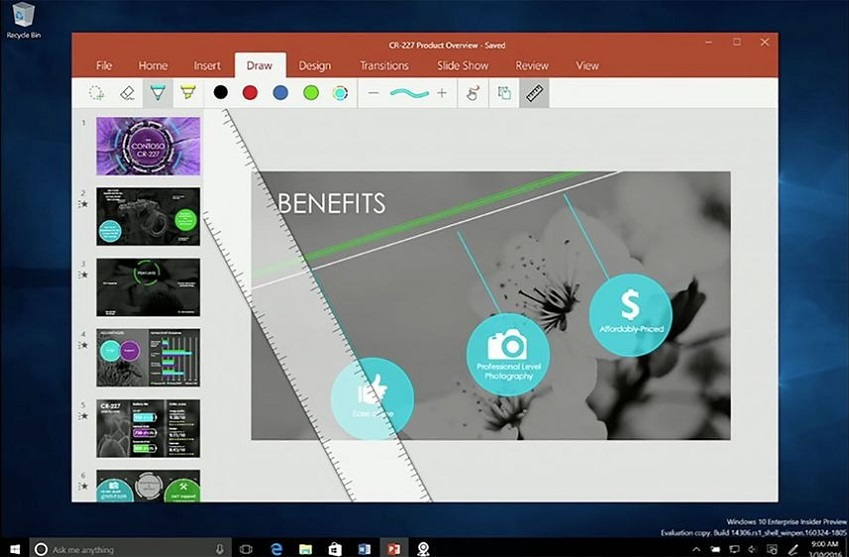 Platforma Windows Ink zyska też wielozadaniową, witrualną linijkę.