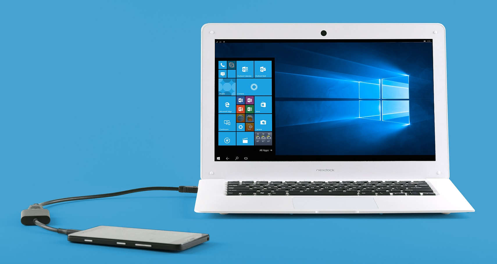 """Projekt NexDock - """"pusty"""" laptop (ekran + klawiatura). Smartfon z Windows 10 Mobile i Continuum będzie jego zewnętrznym wnętrzem."""