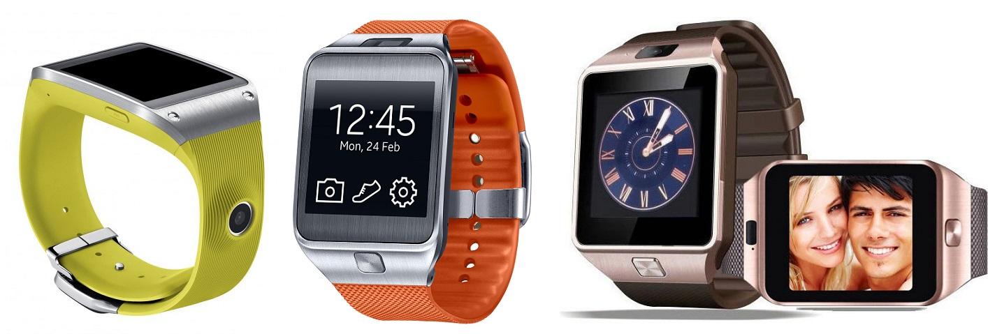 Po lewej dwie generacje Geara od Samsunga (kamerka w kopercie lub w pasku), po prawej chiński klon.