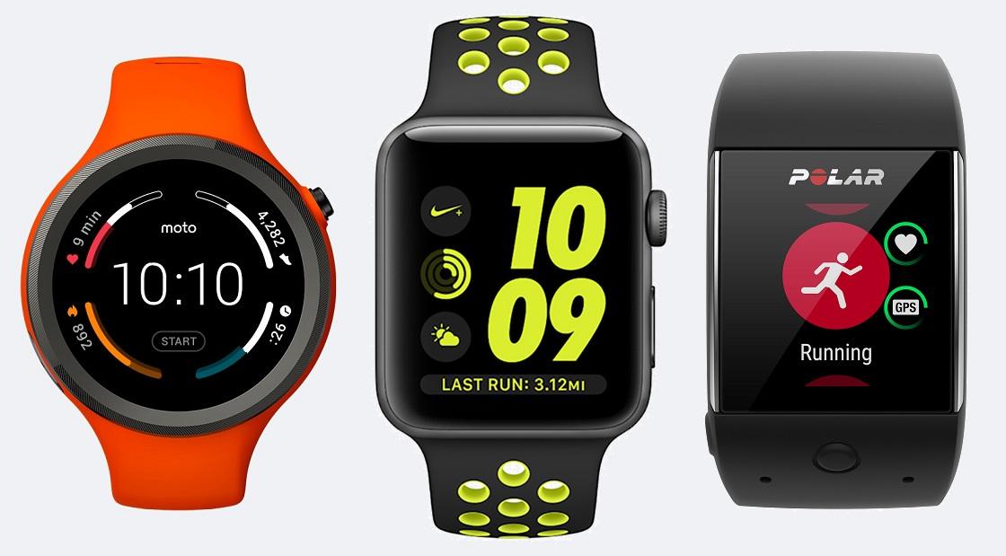 Moto 360 Sport, Apple Watch series 2 Nike+ Editon i Polar M600.