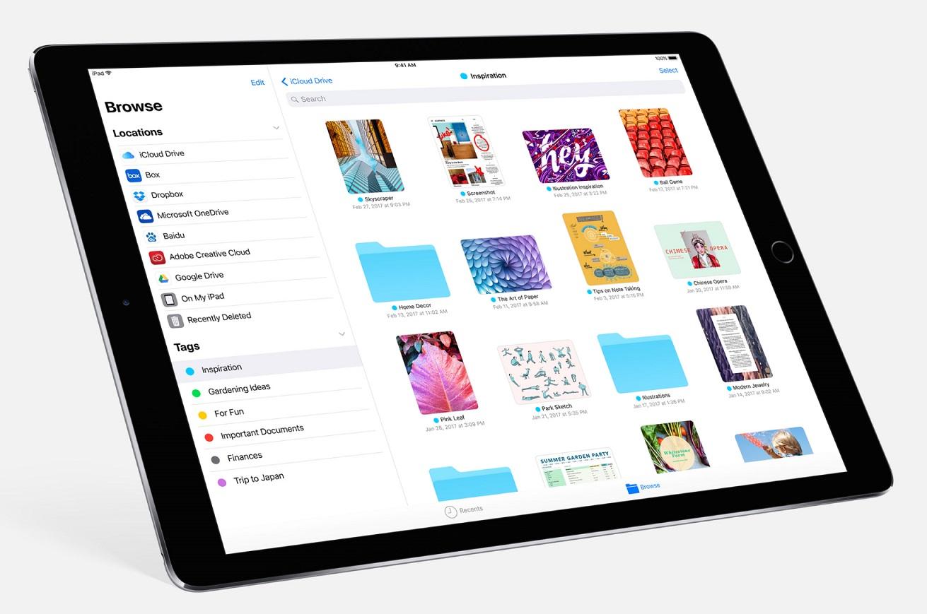 iOS 11 iPad Pliki