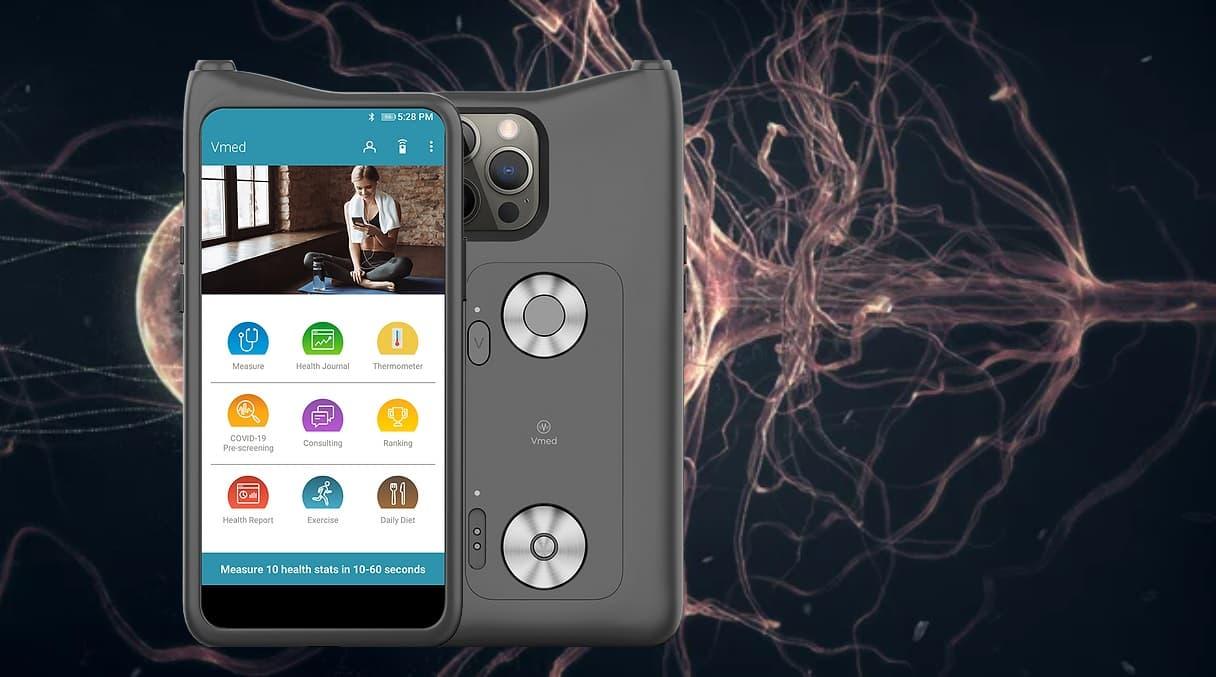 Vmed obudowa smartfona z czujnikami do analizy zdrowiai