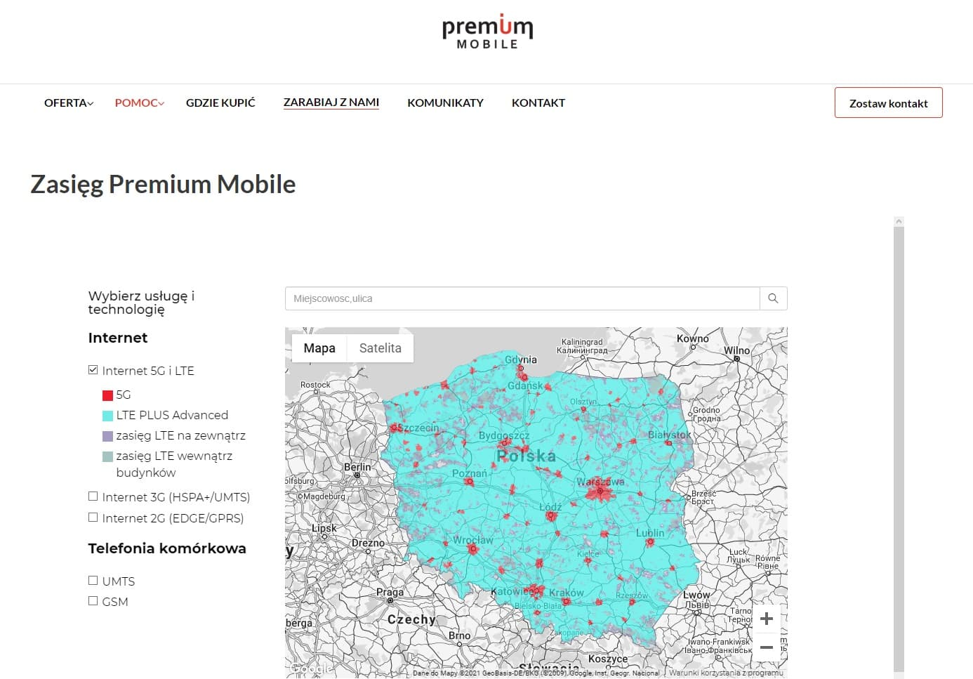 Zasięg pemium mobile