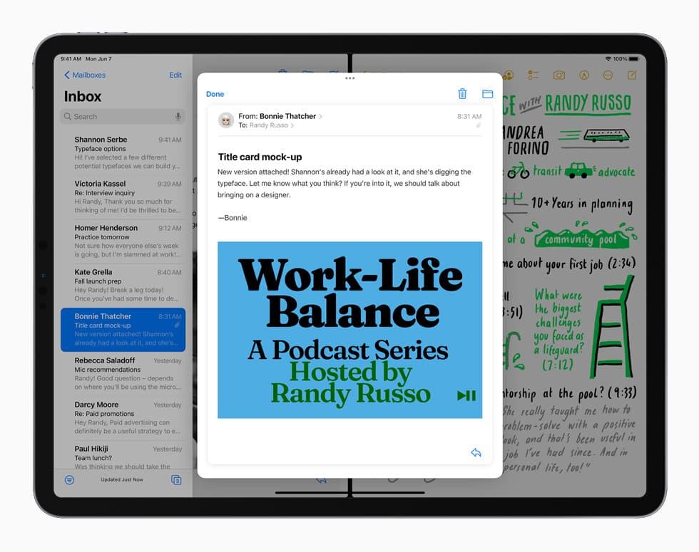 iPadOS 15 okienka