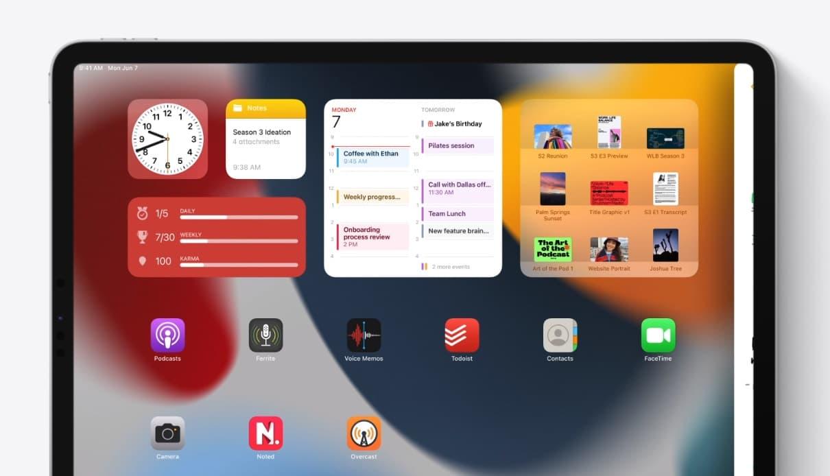 iPadOS 15 widgety